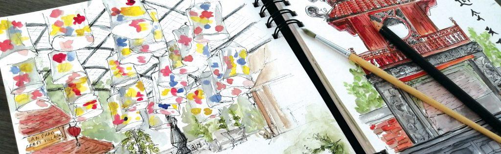 carnet de dessin de Maggy Pottier professeur aux beaux arts de Cannes